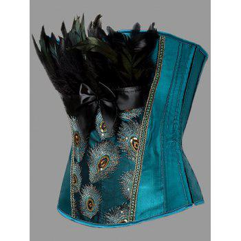Plus Size Lace-up Feather Corset - PEACOCK BLUE 6XL