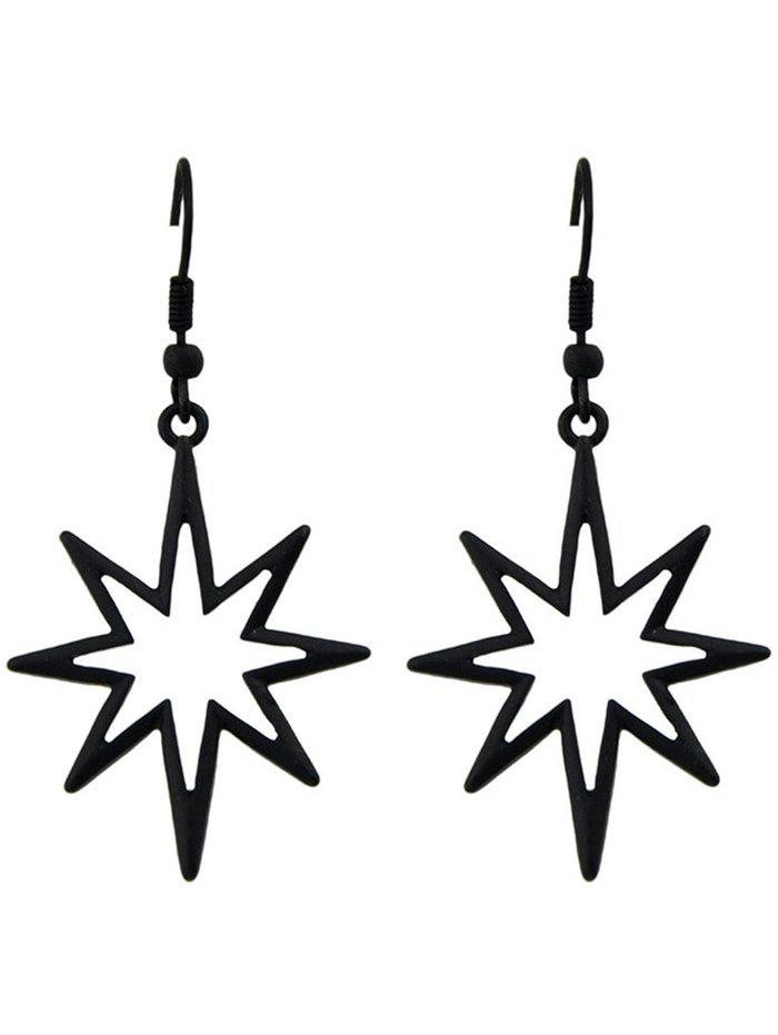 Alloy Geometric Hollow Out Pendant Earrings - BLACK