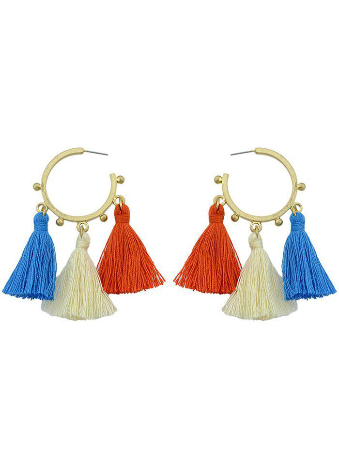 Alloy Circle Tassels Hoop Drop Earrings - GOLDEN