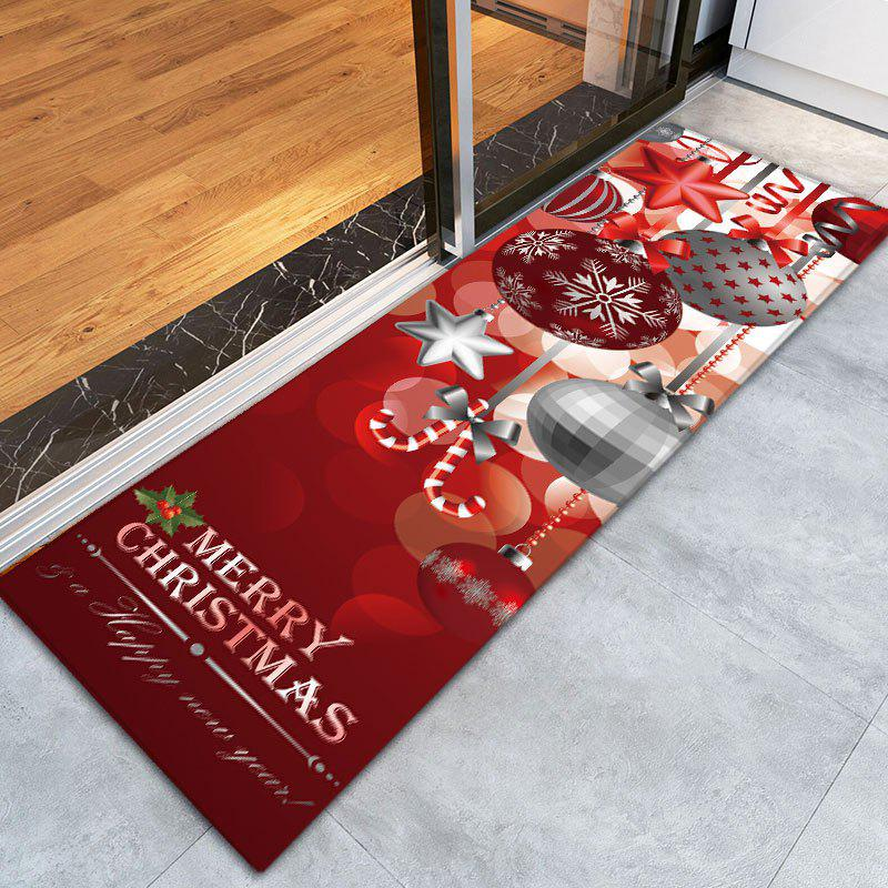Christmas Ornaments Ball Print Flannel Nonslip Bath Mat - DARK RED W16 INCH * L47 INCH