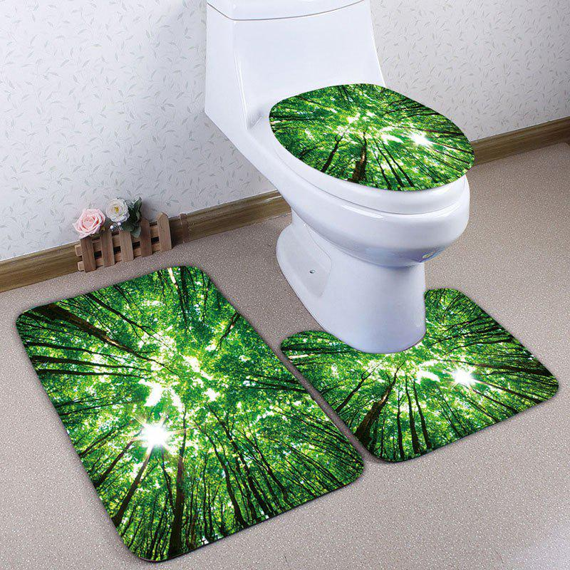 Forest Sky Print 3Pcs Flannel Bath Toilet Mat Set - GREEN