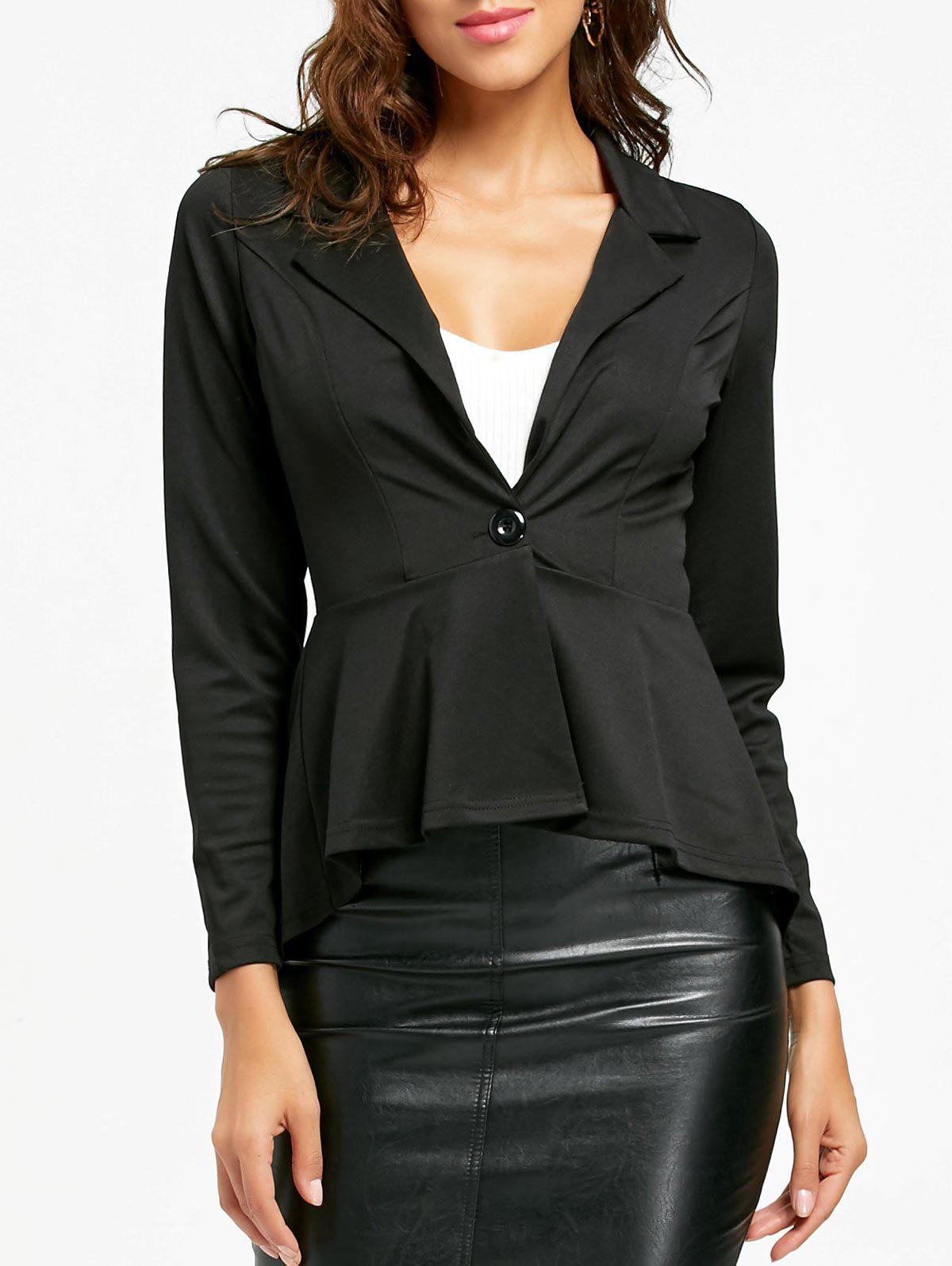 Flounce High Low One Button Blazer - BLACK L