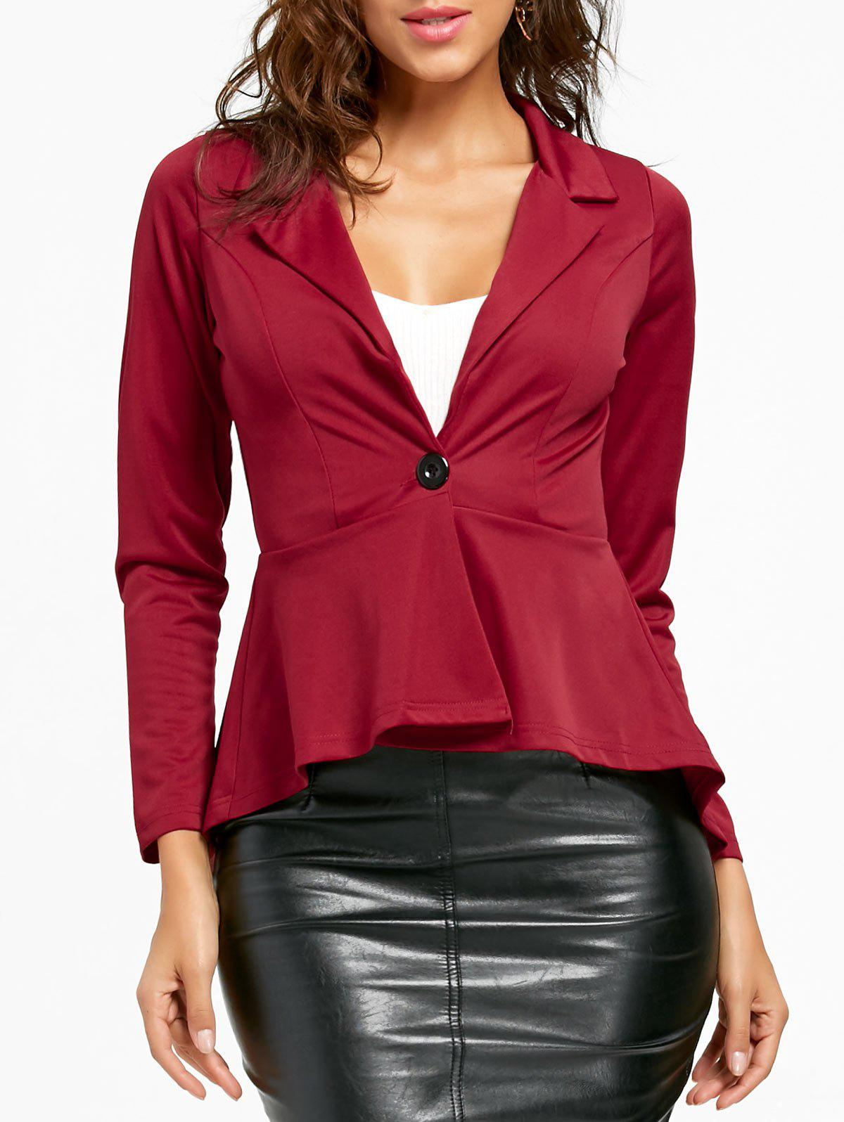 Flounce High Low One Button Blazer - Rouge vineux M