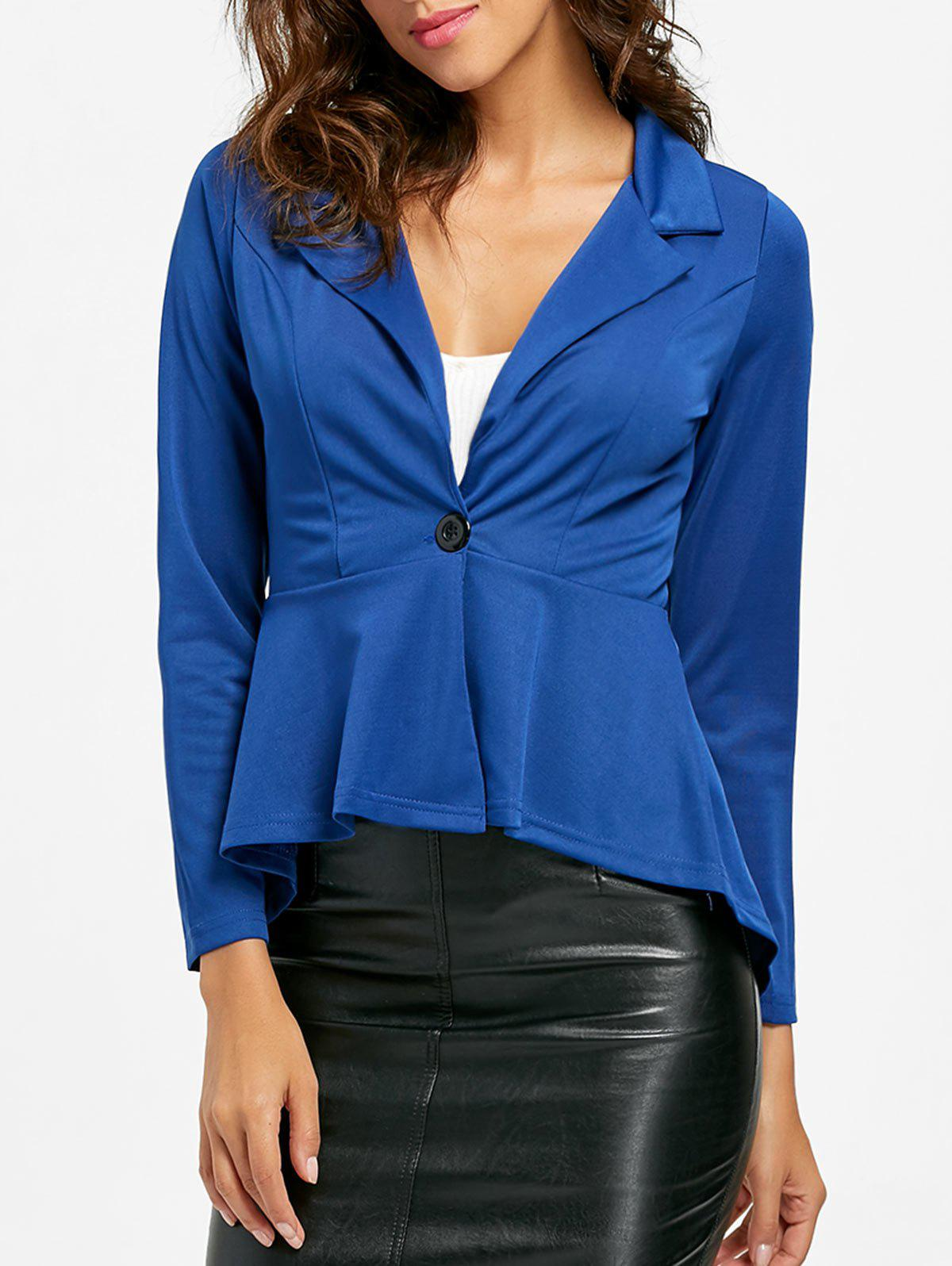 Flounce High Low One Button Blazer - Bleu M