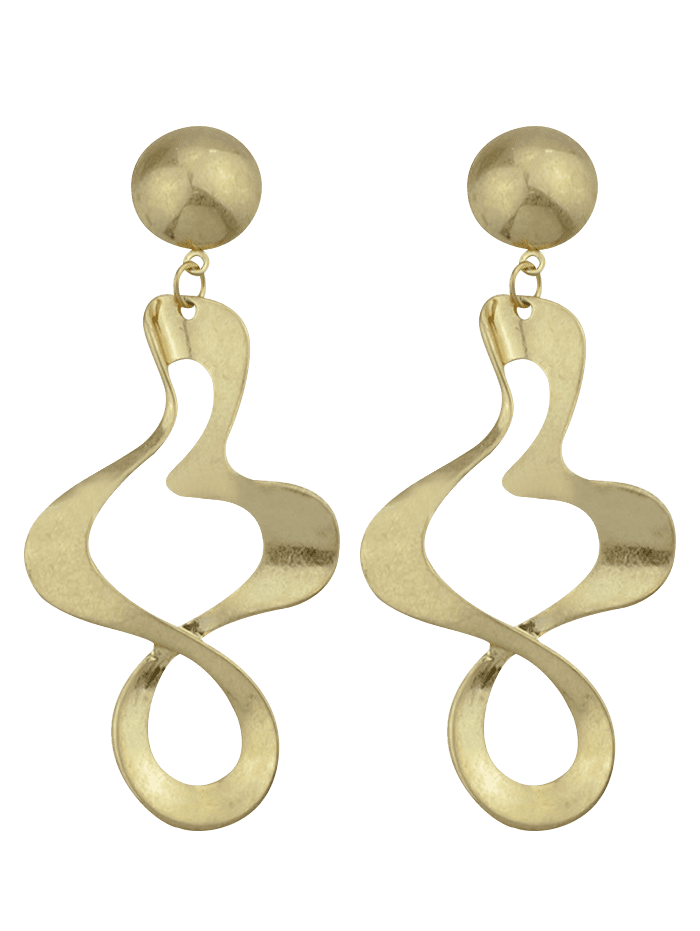 Alloy Irregular Hollow Out Embellished Earrings - GOLDEN