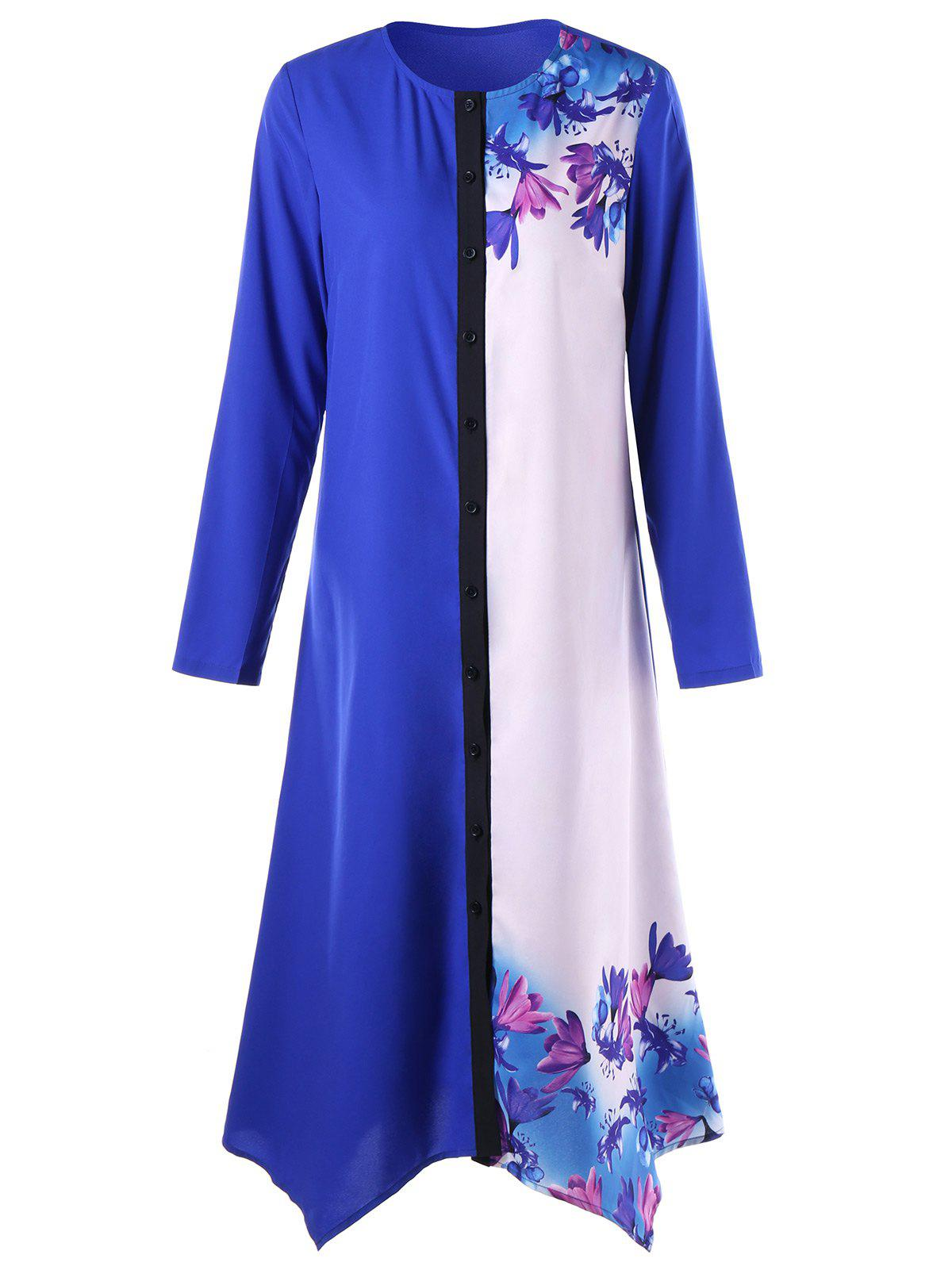Floral Print Ombre Handkerchief T Shirt Dress - Bleu XL