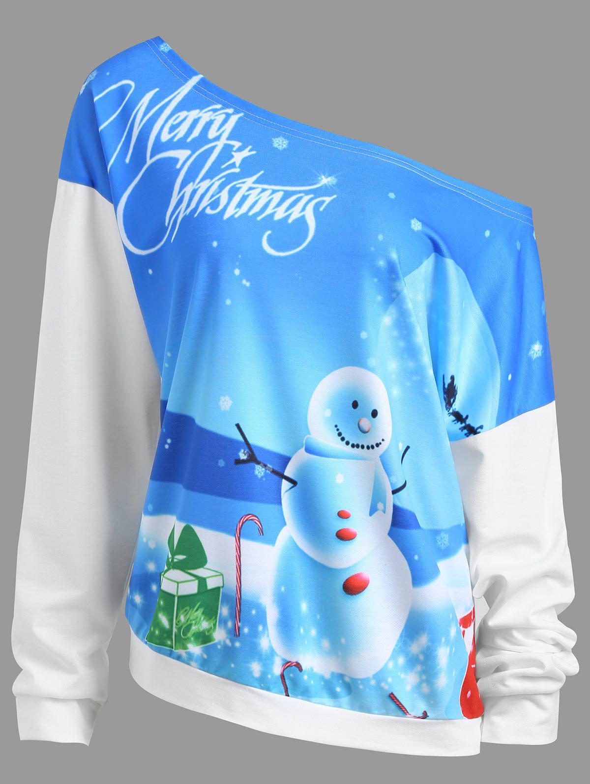Merry Christmas Moon Snowman Plus Size Sweatshirt - WHITE XL