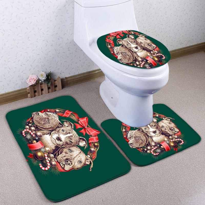 Ensemble de tapis de toilette à 3 pcs Flannel Animal Pattern - Vert Foncé