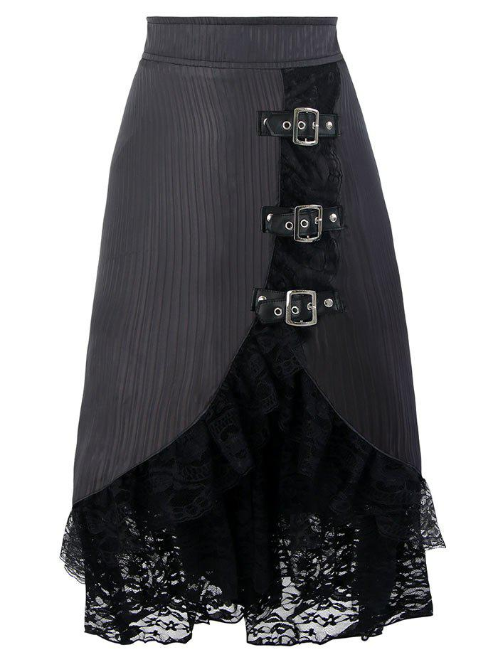 Lace Ruffles Hem Midi Skirt - BLACK XL