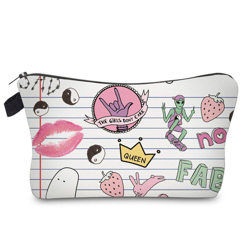 Clutch Letter Print Makeup Bag - WHITE