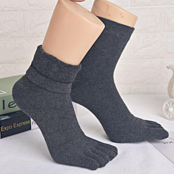 Five Finger Toe Keep Warm Cotton Blend Socks - DEEP GRAY