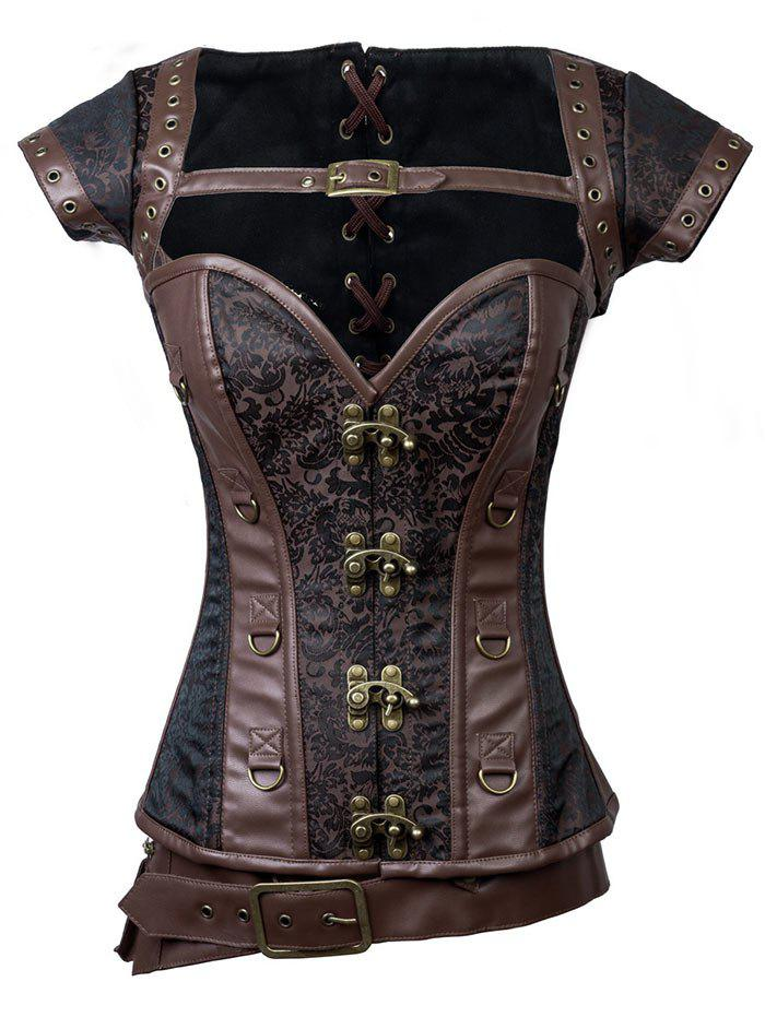2018 Vintage Faux Leather Lace-up Corset BROWN M In Corset ...