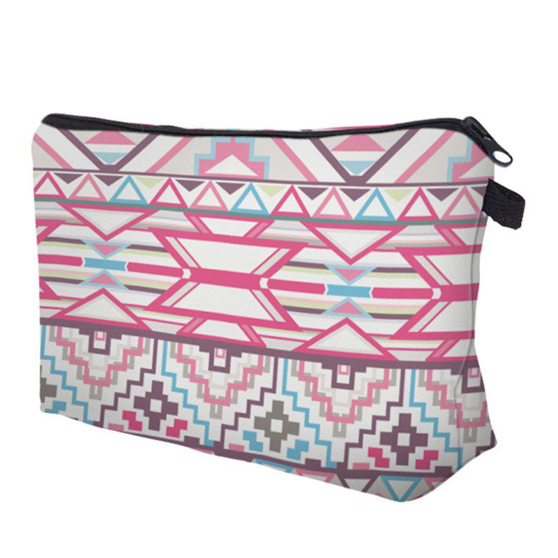 Geometric Striped Print Cosmetic Bag - WHITE