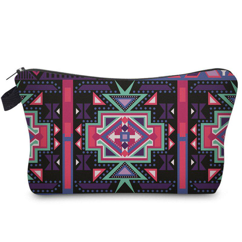 Geometric Striped Print Cosmetic Bag - COLORMIX