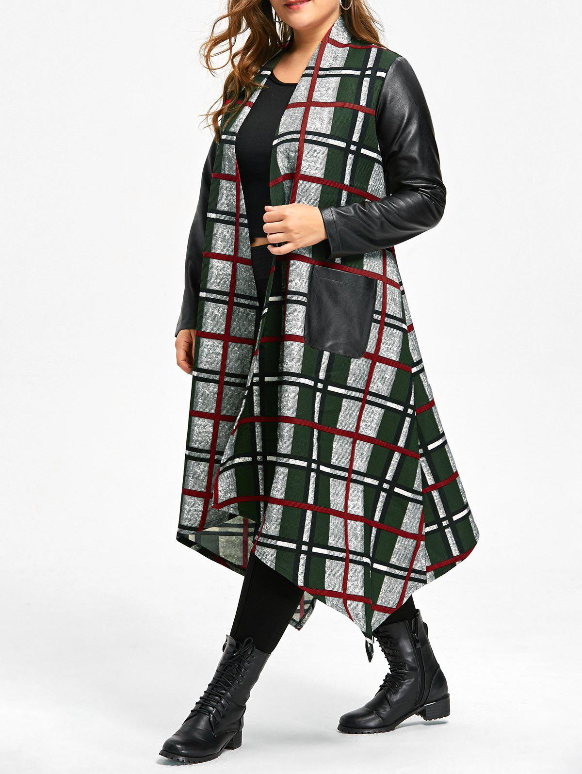 Asymmetrical Leather Insert Plus Size Longline Plaid Coat - COLORMIX XL