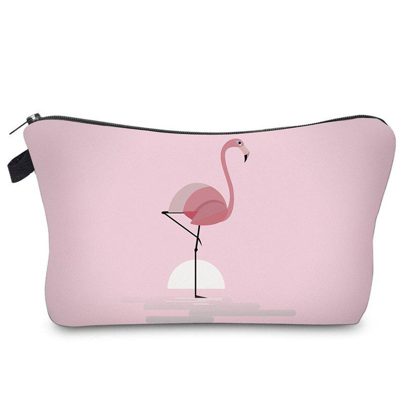 Print Flamingo Patchwork Cosmetic Bag - LIGHT PINK