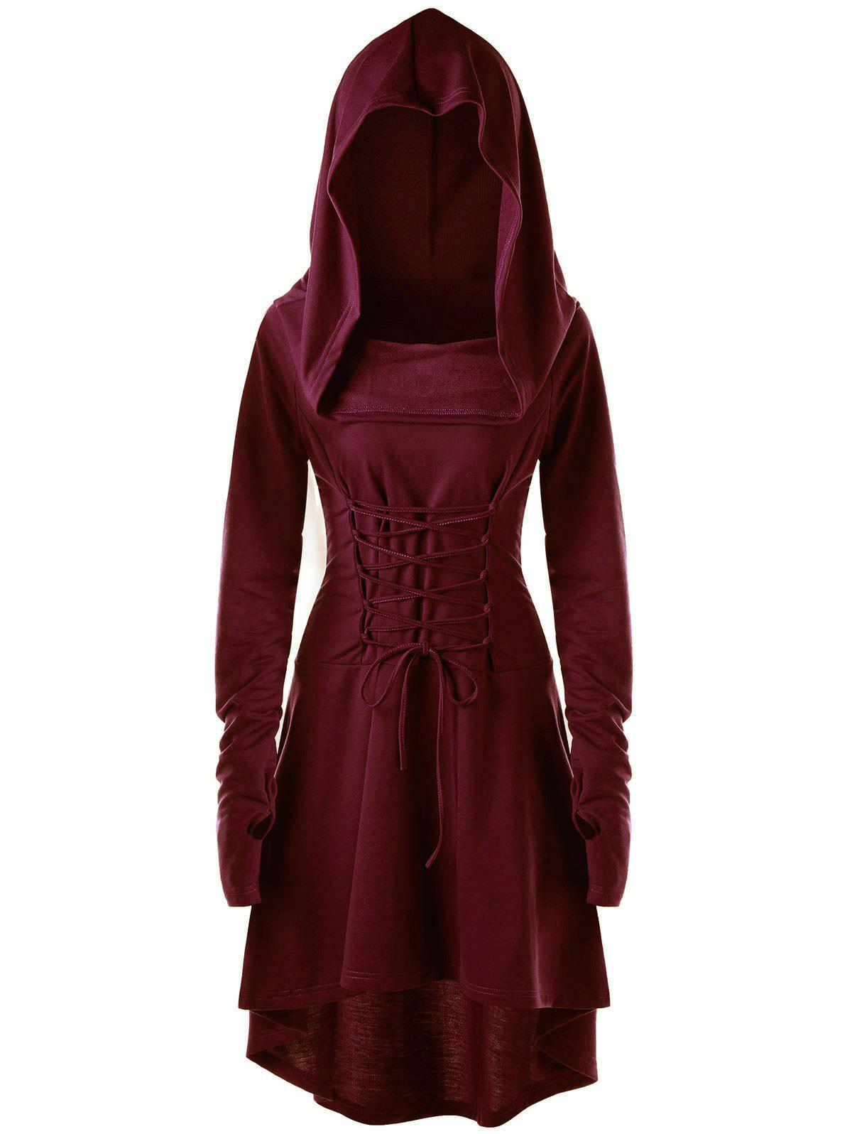 Lace Up Hooded High Low Dress - WINE RED M