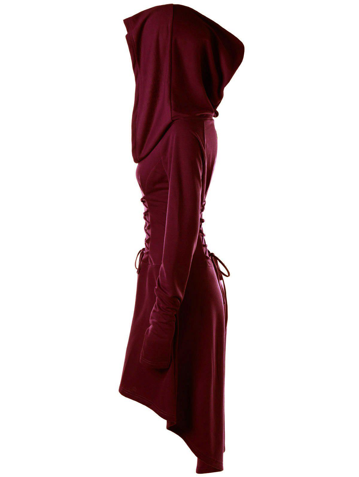 Lace Up Hooded High Low Dress - WINE RED L
