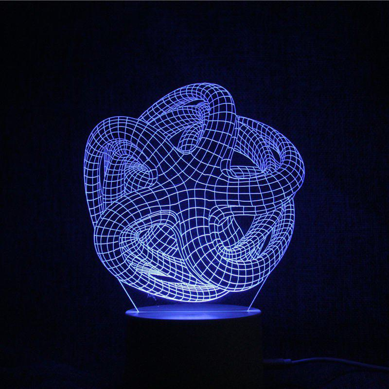 3D Geometric Color Changing Remote Control Night Light - TRANSPARENT