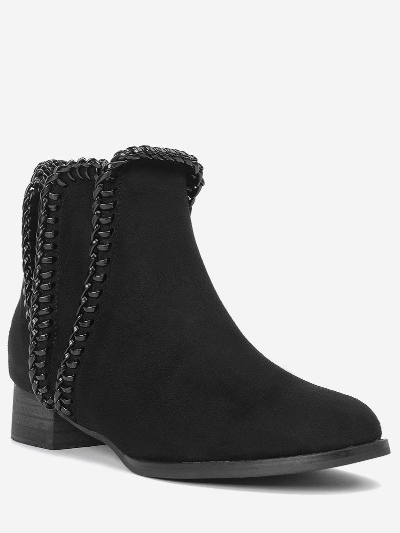 Whipstitch Low Heel Ankle Boots - BLACK 37