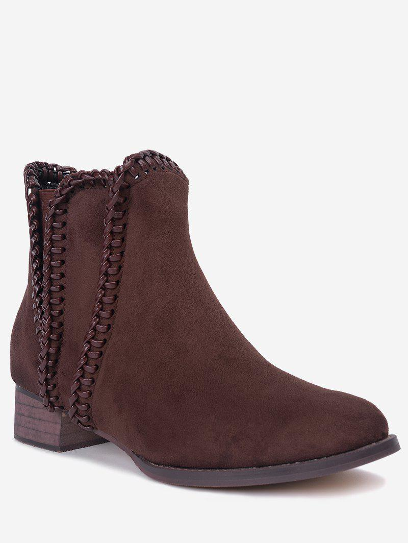 Whipstitch Low Heel Ankle Boots - BROWN 36
