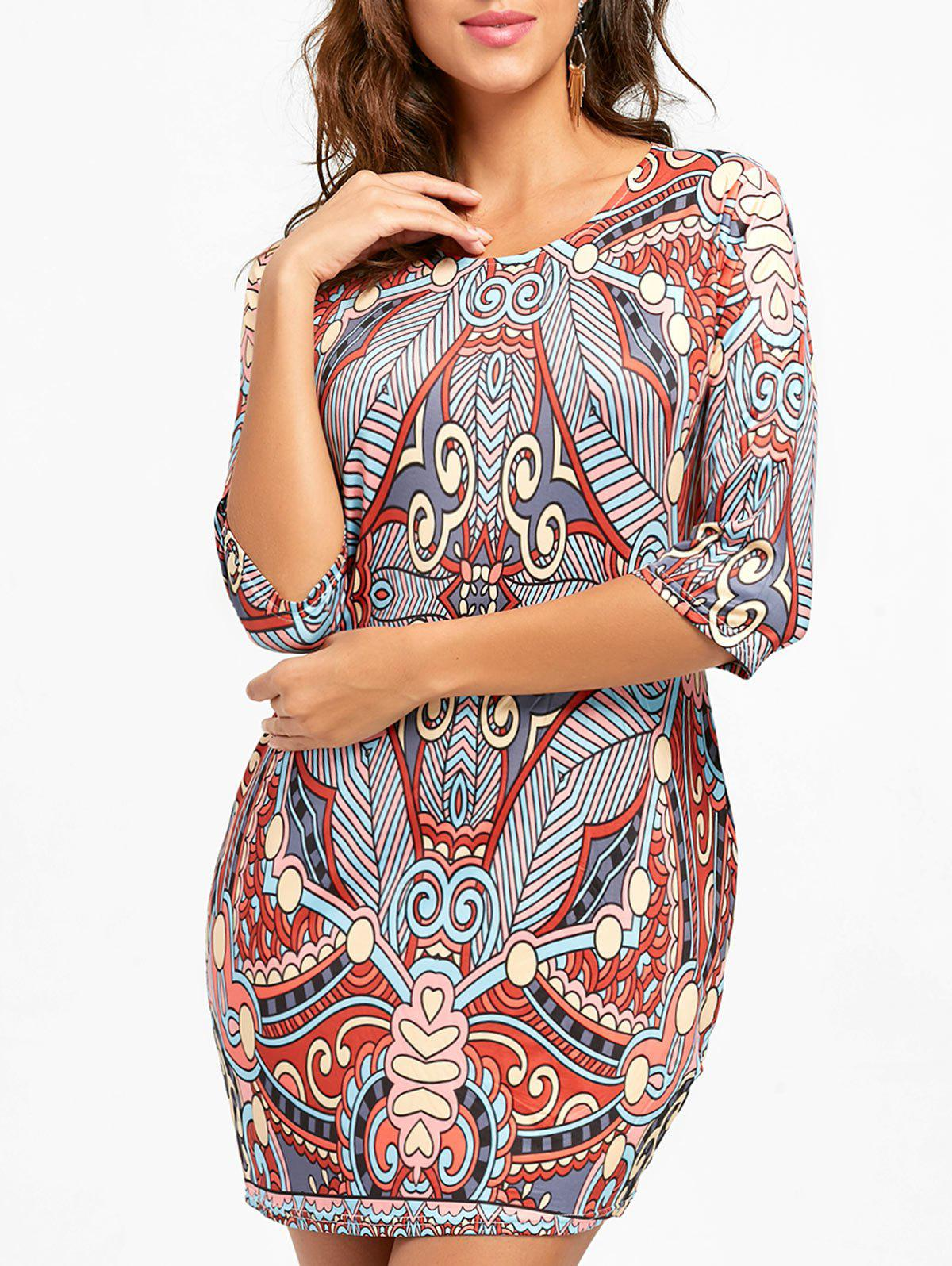 Ethnic Print Bodycon Mini Dress - COLORMIX L