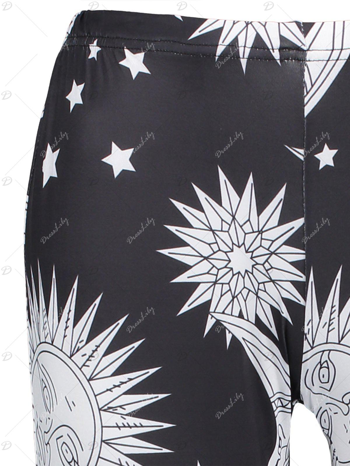 High Waisted Sun Moon Print Skinny Leggings - BLACK XL