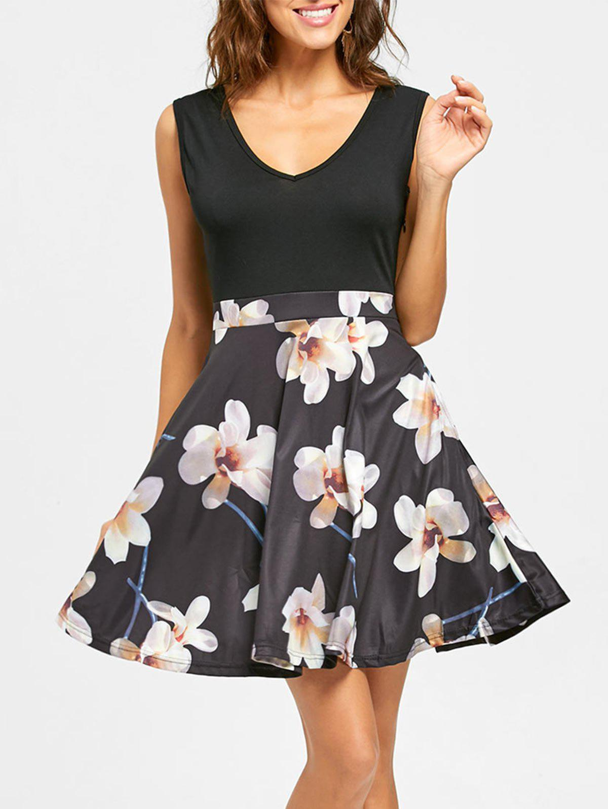 Floral Print V Neck Sleeveless Mini Dress - BLACK L