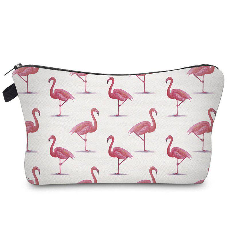 Print Flamingos Contrasting Color Cosmetic Bag - RED/WHITE