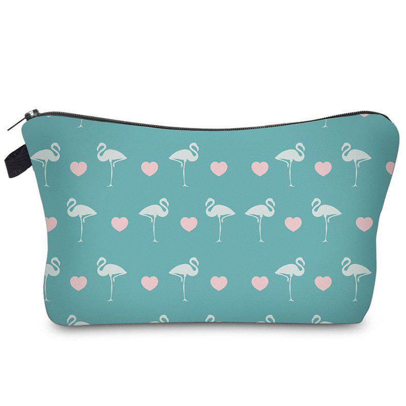 Print Flamingos Contrasting Color Cosmetic Bag - LIGHT BLUE