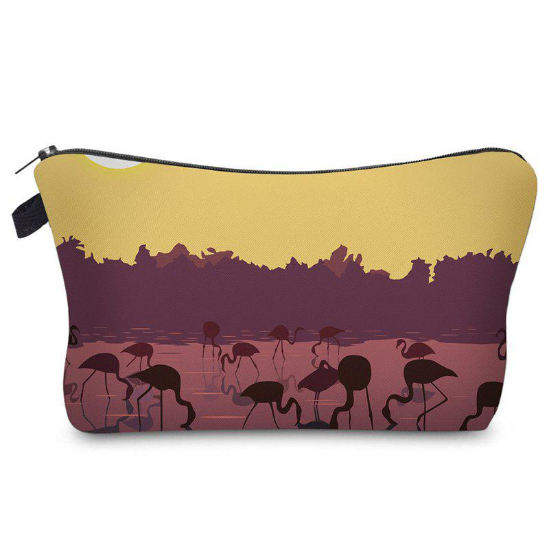 Print Flamingos Contrasting Color Cosmetic Bag - GINGER