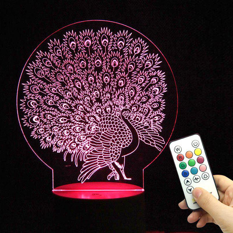 Multicolor 3D Peacock LED Night Light with Remote Controller