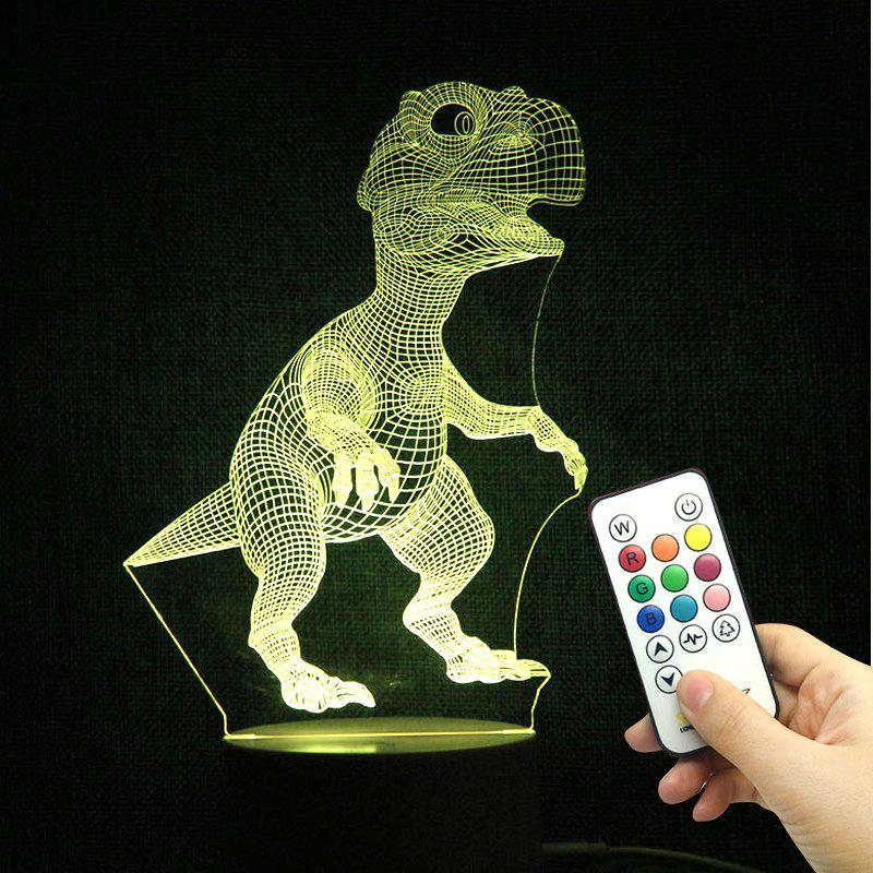 Remote Control Cartoon Dinosaur Colorful LED Night Light - TRANSPARENT