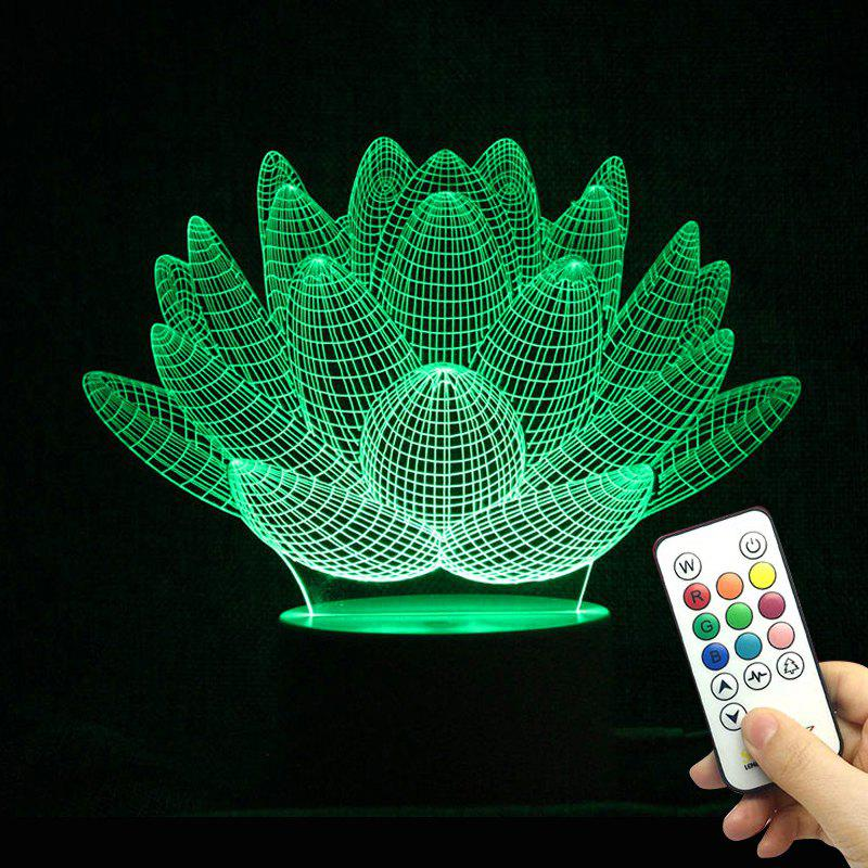 3D Visual Remote Control 10 Color Changing LED Night Light creative 3d visual color changing led touching night light