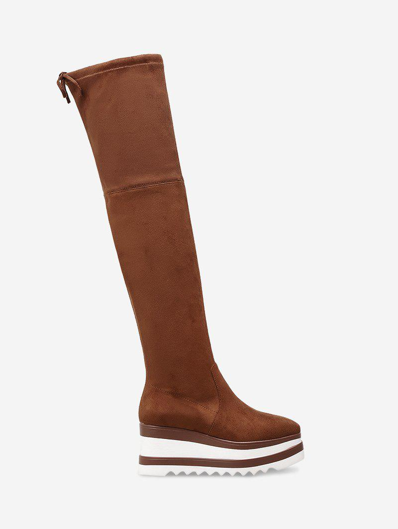 Tie Back Wedge Heel Over The Knee Boots - BROWN 36