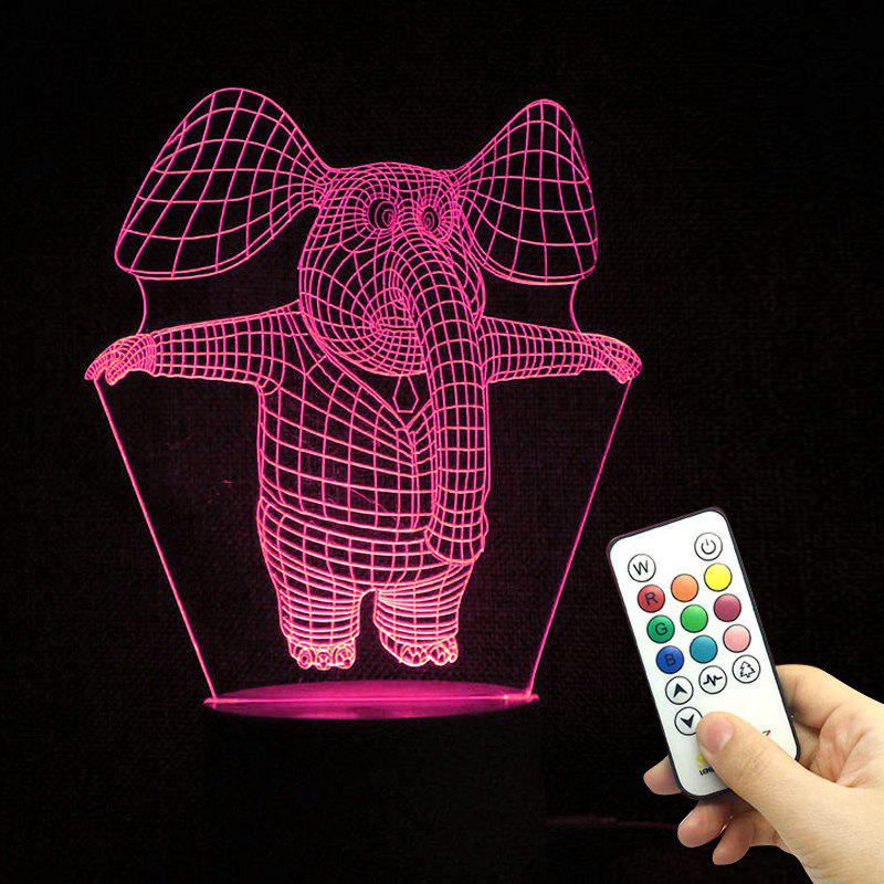 3D Illusion LED Color Change Elephant Night Light Best Gift bear silicon color change rechargeable led night light