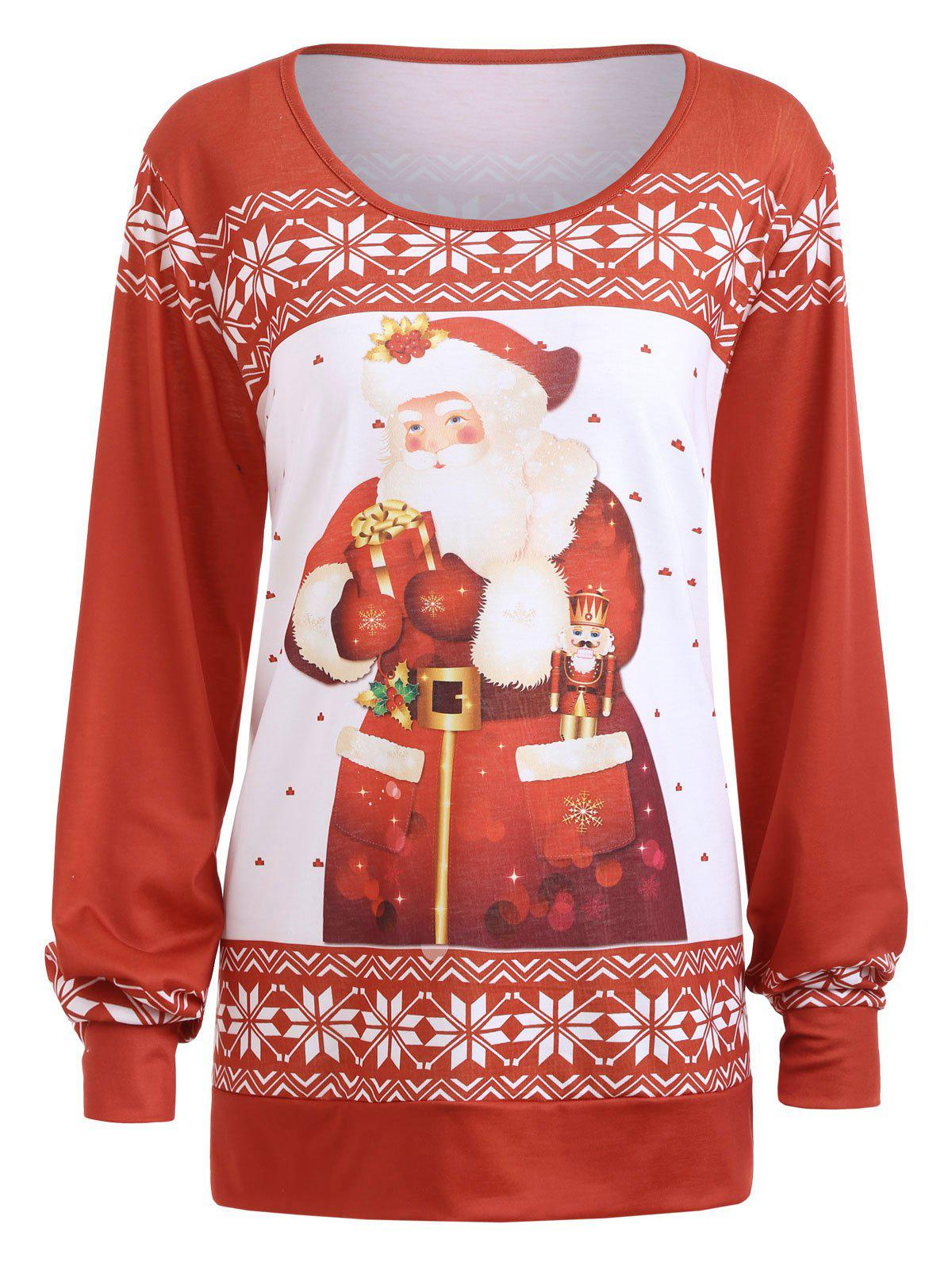 Plus Size Classic Christmas Santa Claus Printed Sweatshirt - RED 2XL