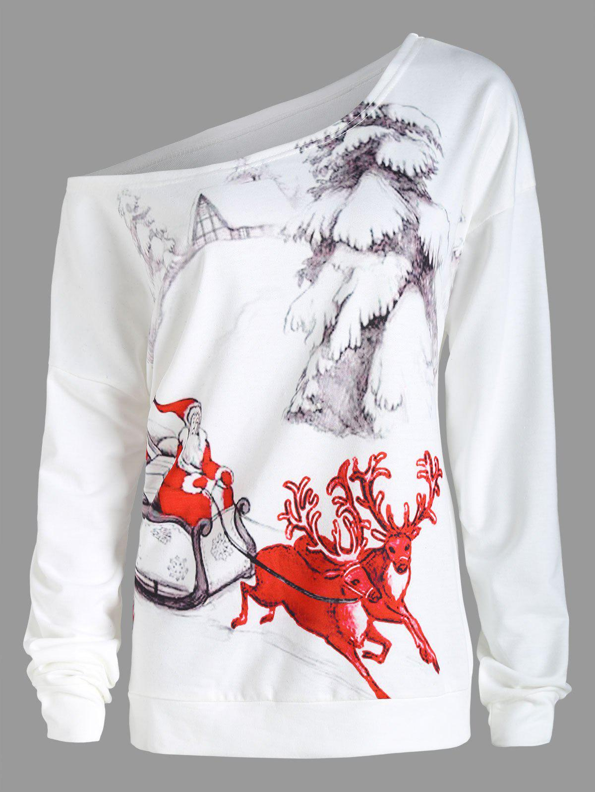 Plus Size Christmas Sleigh Skew Neck Sweatshirt plus size christmas reindeer skew collar sweatshirt