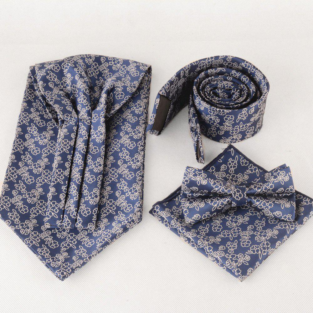 Vintage Jacquard Pattern Necktie Bowtie Set - PURPLISH BLUE