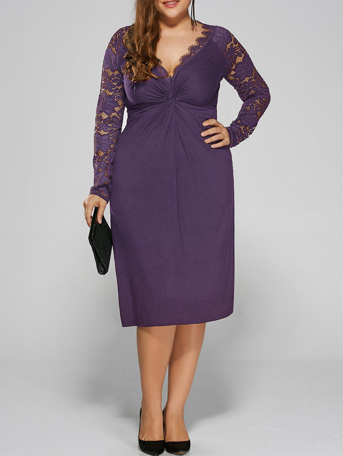 Plus Size Twist Front Lace Insert Fitted Dress - PURPLE 5XL