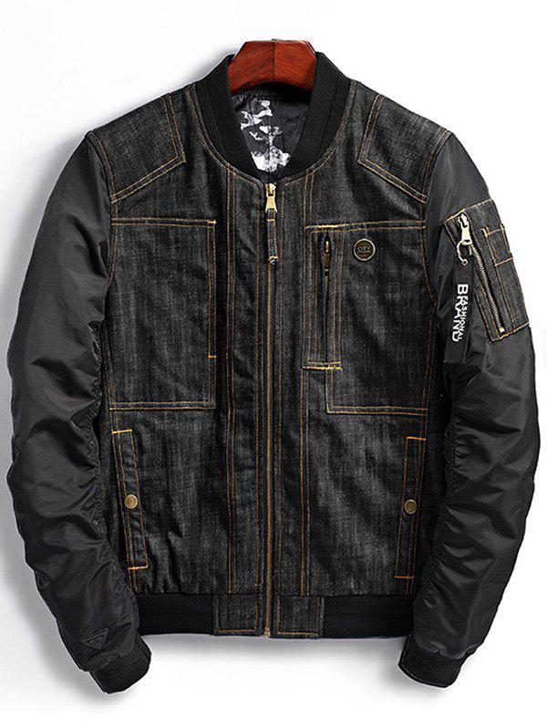 Denim Panel Bomber Jacket with Multi Pockets - BLACK XL