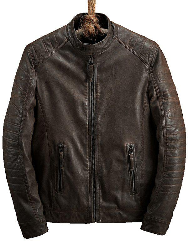 Zipper Pocket Raglan Sleeve Faux Leather Jacket - DEEP BROWN M