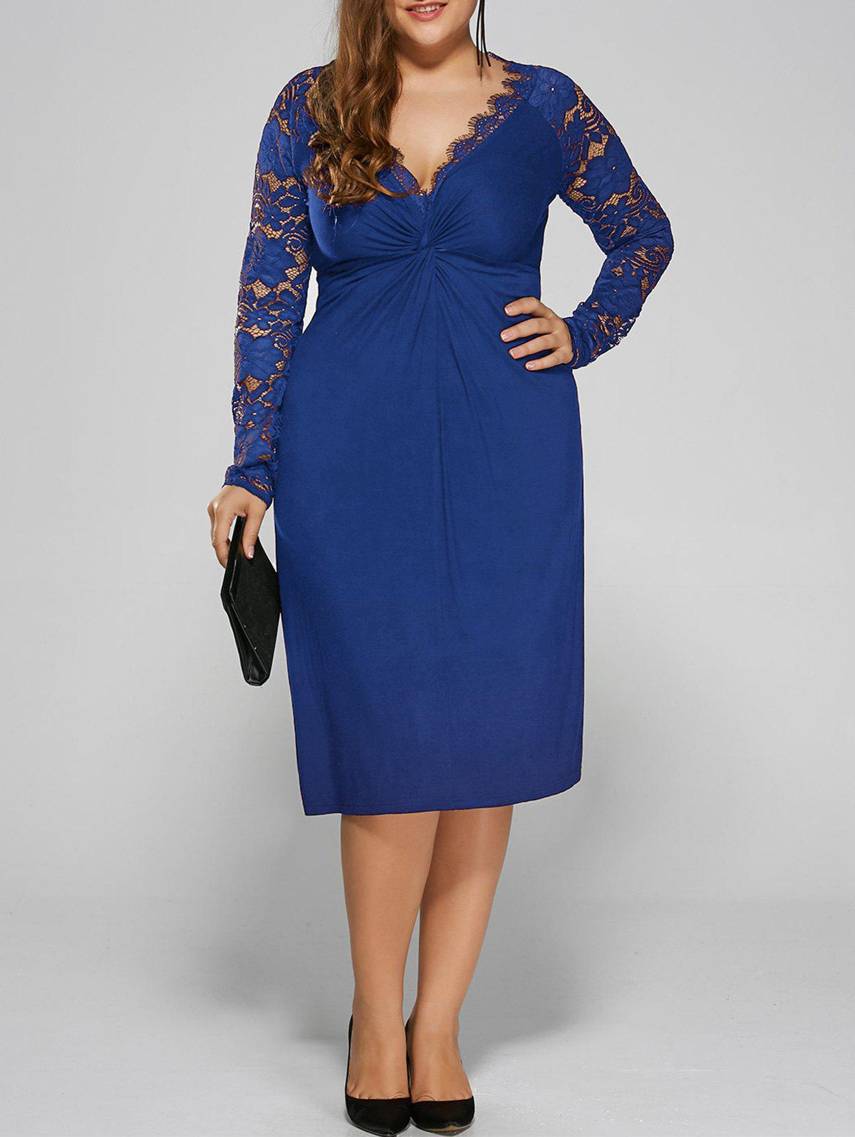 Plus Size Twist Front Lace Insert Fitted Dress - BLUE 2XL