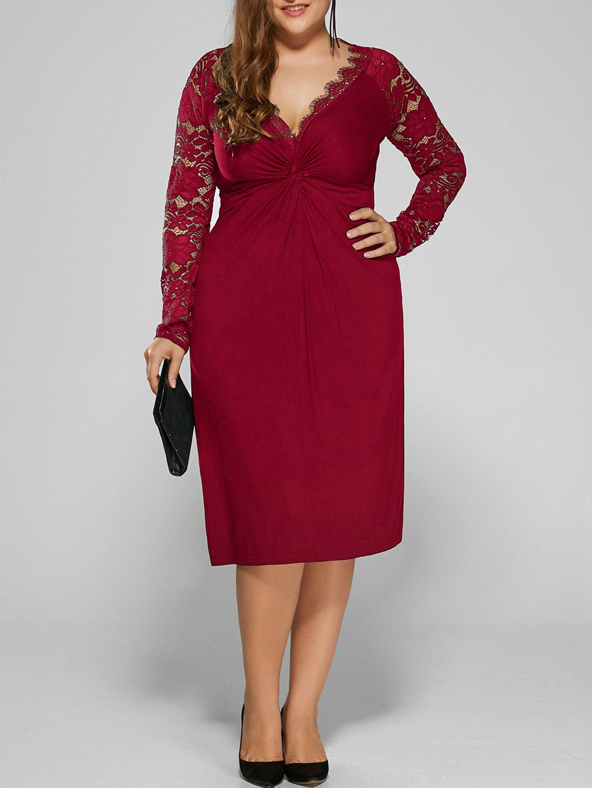 Plus Size Twist Front Lace Insert Fitted Dress - RED 4XL