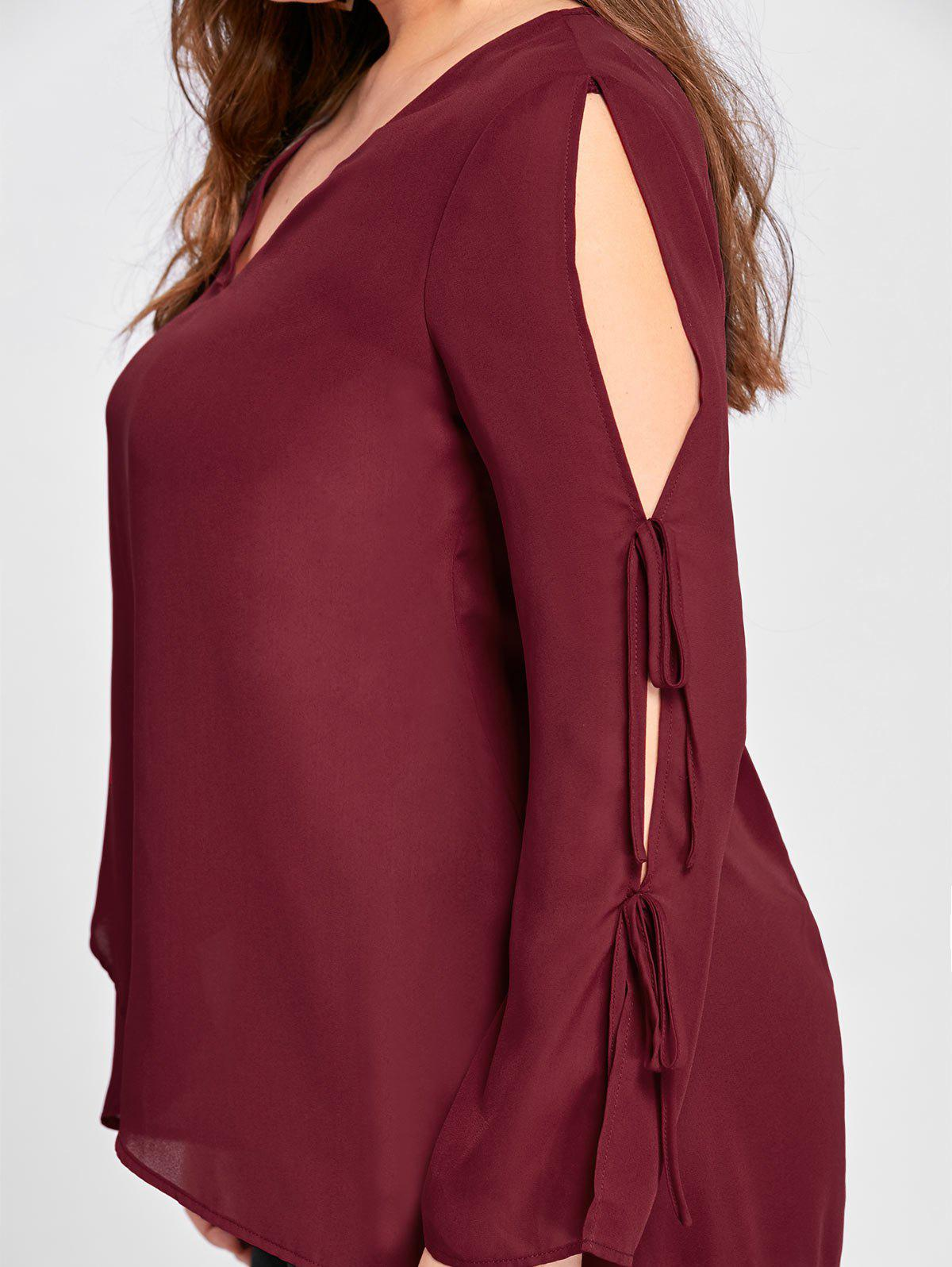 Plus Size Slit Tie Sleeve V Neck Blouse - WINE RED 2XL