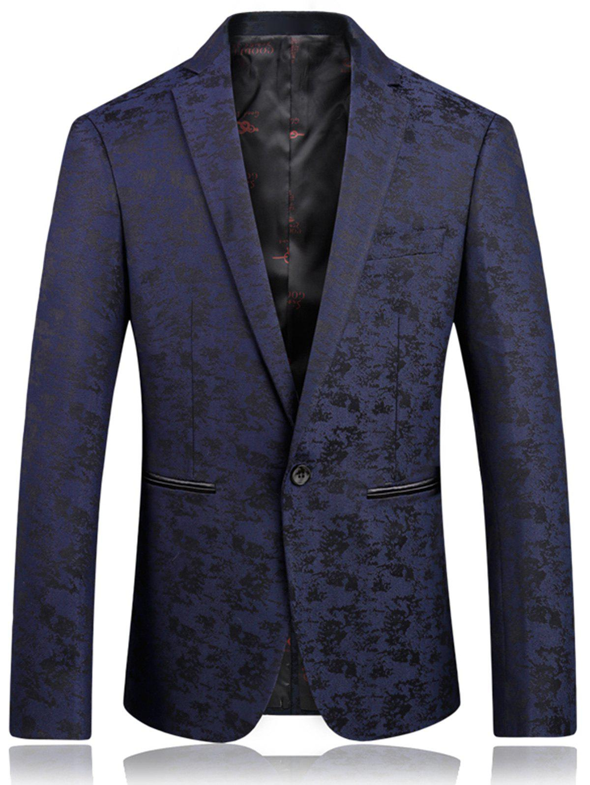 Lapel Jacquard Edging One Button Blazer - DEEP BLUE 3XL