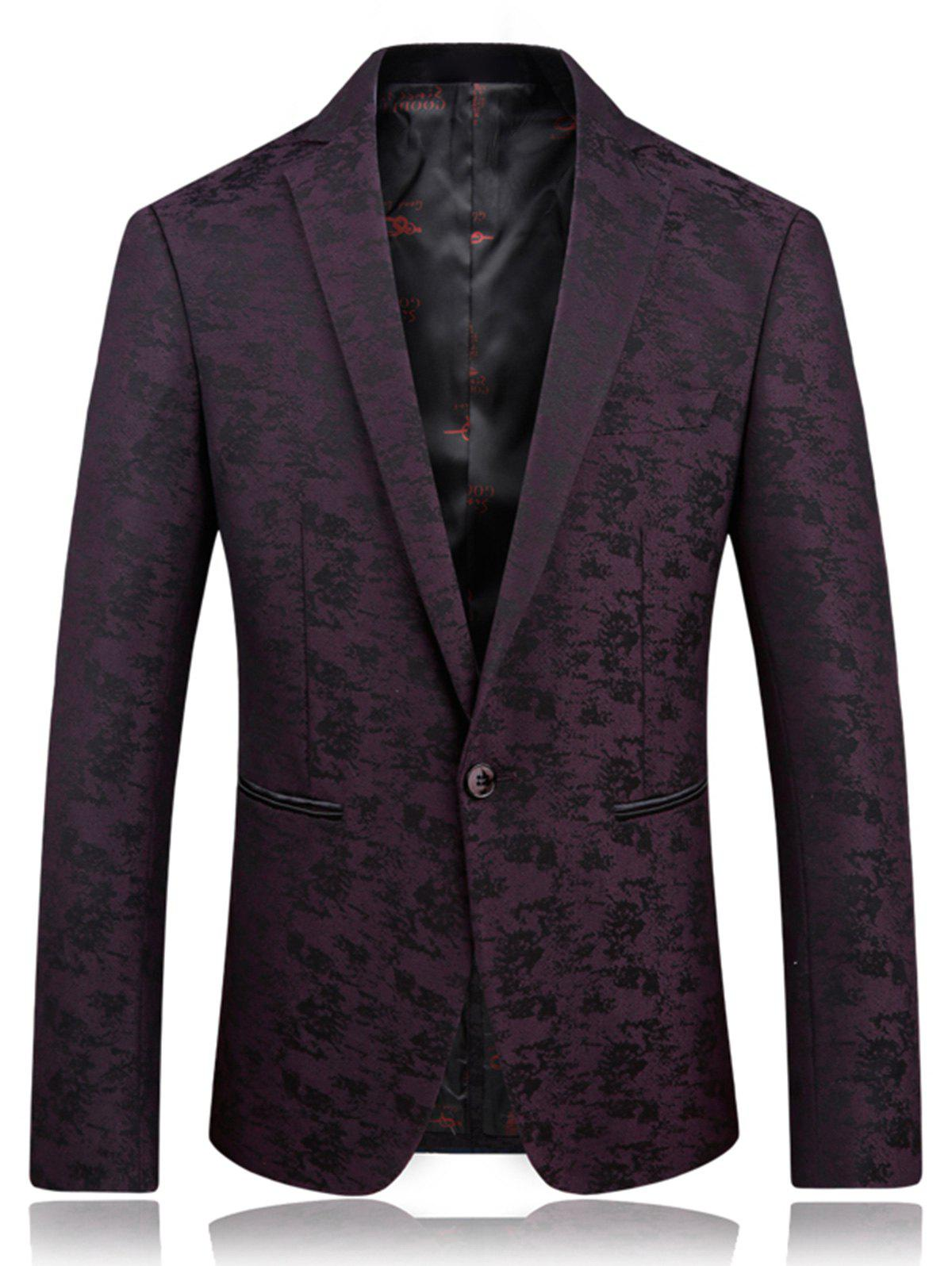 Lapel Jacquard Edging One Button Blazer - Violacé rouge XL