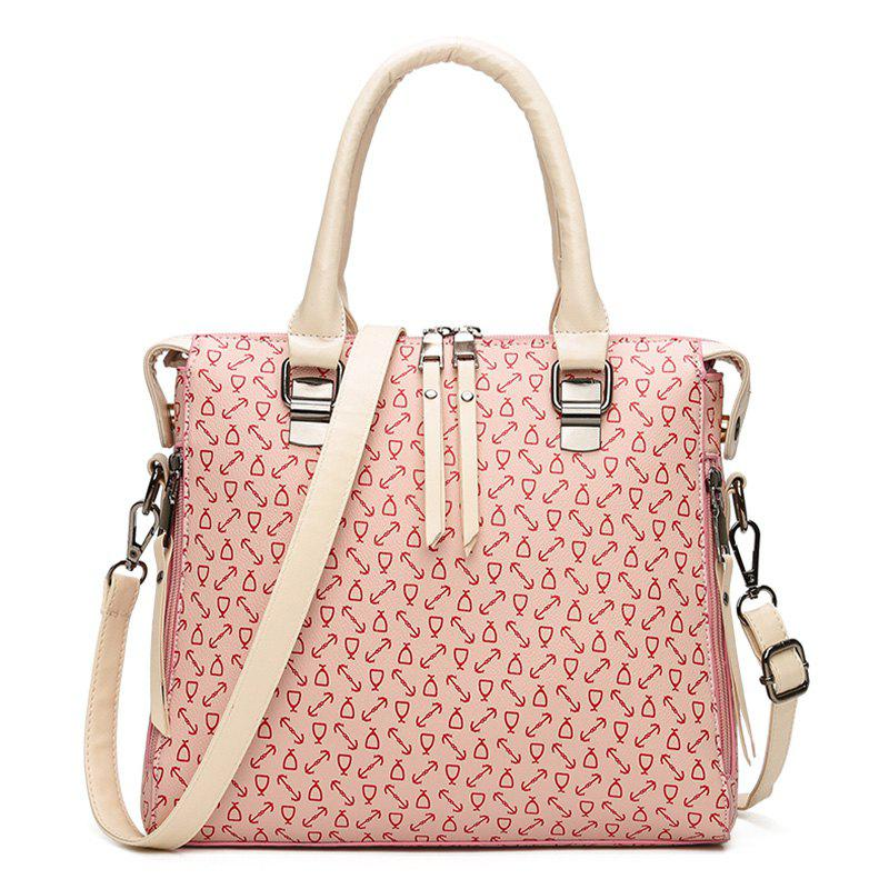Faux Leather Buckle Strap Arrow Handbag - PINK