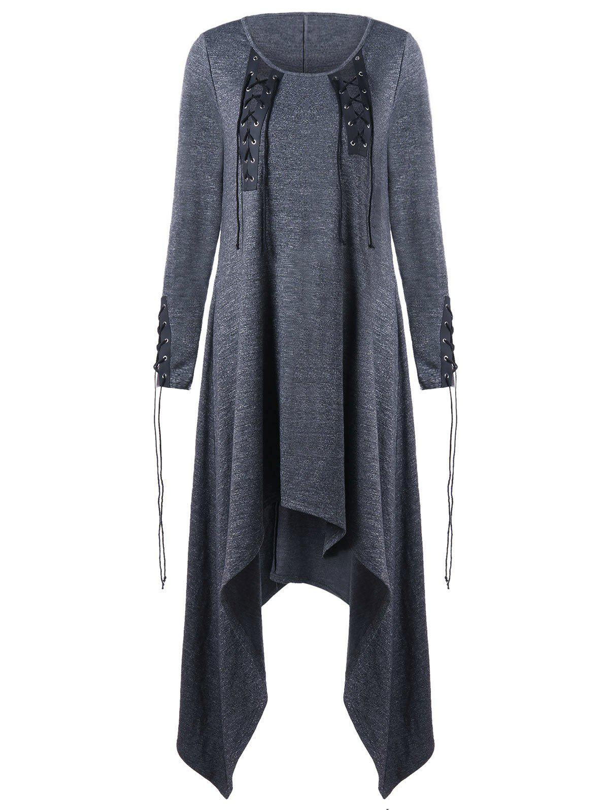 Asymmetric Lace Up Long Sleeve Dress - GRAY 2XL