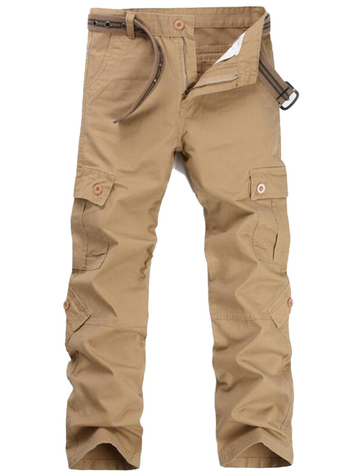 Pockets Straight Leg Cargo Pants - KHAKI 32